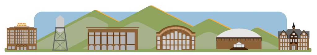 Graphic depicting iconic buildings for Bozeman,MT and Montana state University. Hotel Baxter, Water Tower, Library, Romney Gym. BrickBreerden Fieldhouse, Montana Hall