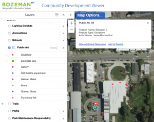 Screen capture of Bozeman, MT Planning GIS page showing locations of public art