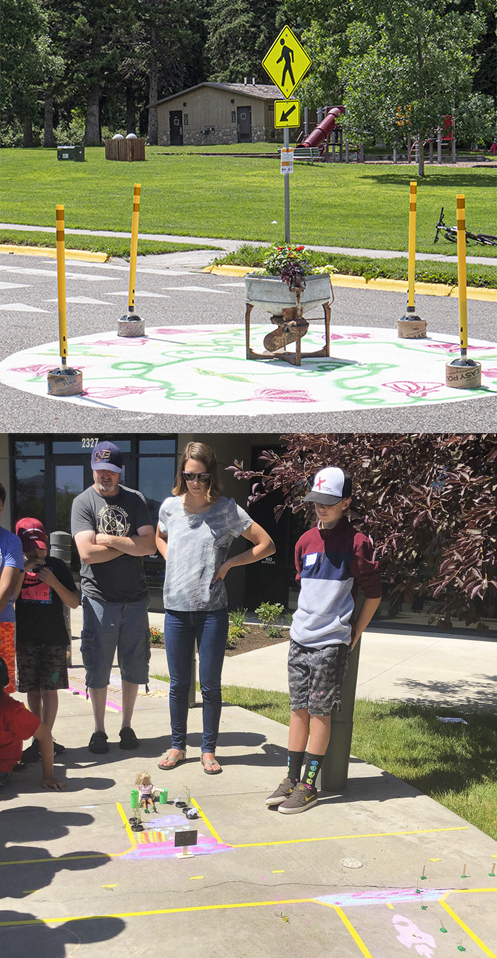Image collate #1 Temporary pop-up roundabout installation #2 Students discuss mockup of traffic calming installation