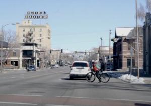 Bike crossing road