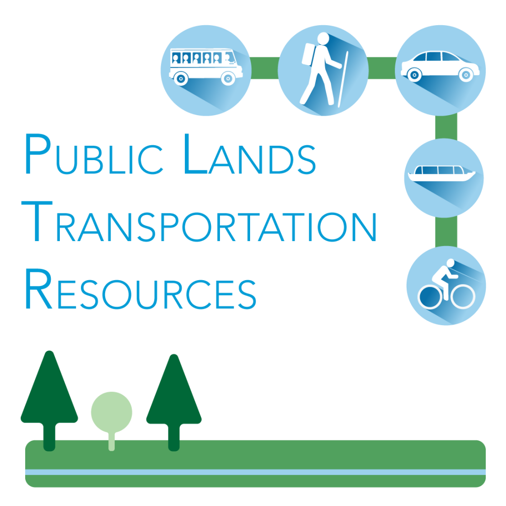 Logo Graphic for Public Lands Transportation Resources with icons for boats, bikes, hiking and busses.